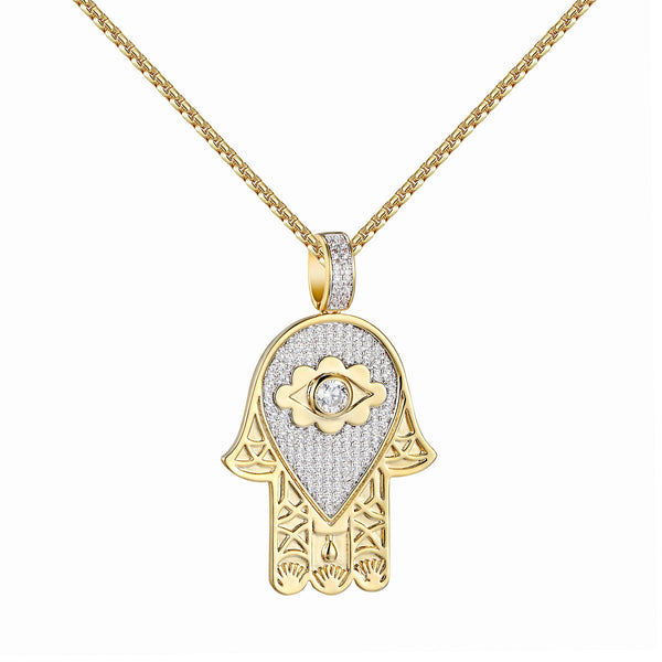 Evil Eye Solitaire Hamsa Hand Pendant Earrings Gold Tone 1.9