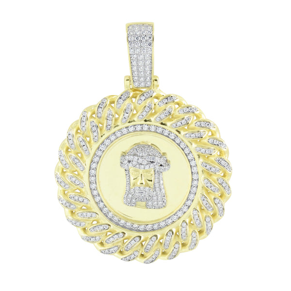 Round Design Jesus Miami Cuban Pendant Gold Over 925 Silver Lab Created Diamonds