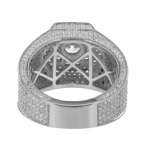 Hexagon Design Ring Mens Sterling Silver Simulated Diamonds