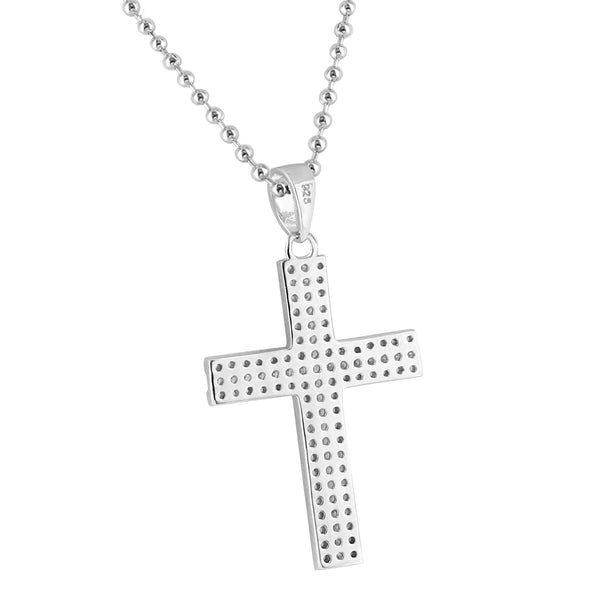 Jesus Cross Crucifixion Pendant 1.5 Inch Lab Diamonds Micro Pave Free Necklace