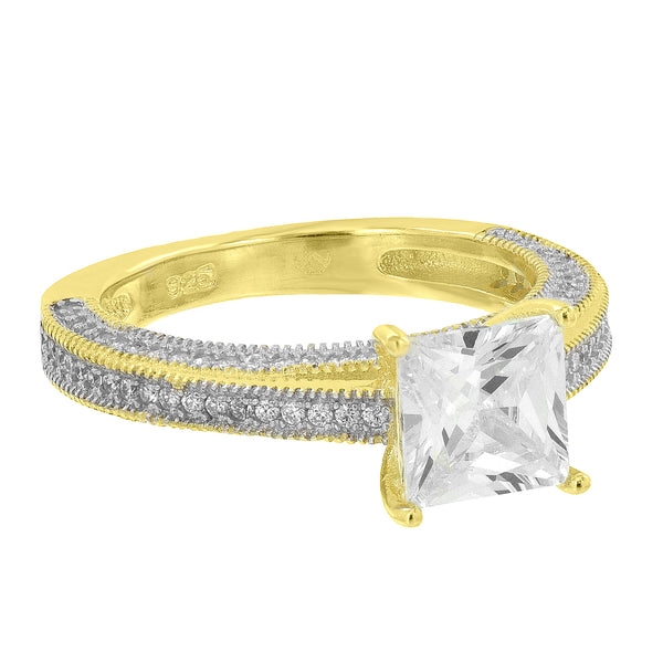 Princess Cut Solitaire Ring Simulated Diamond Wedding Engagement Gold 925 Silver