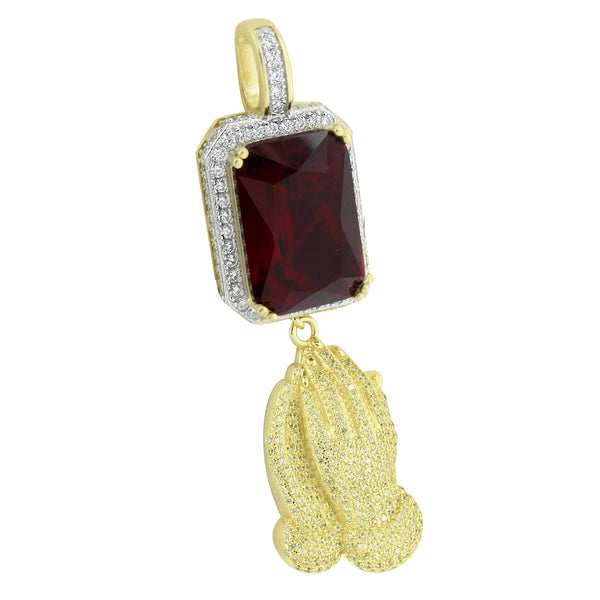 Garnet Ruby Pendant With Canary Praying Hand