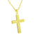 Gold Tone Cross Pendant Lab Diamonds Sterling 925 Silver Bead 24 Inch Necklace New