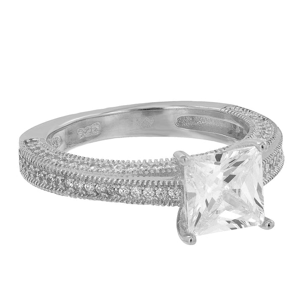 Womens Wedding Solitaire Ring Princess Cut Simulated Diamonds 925 Silver