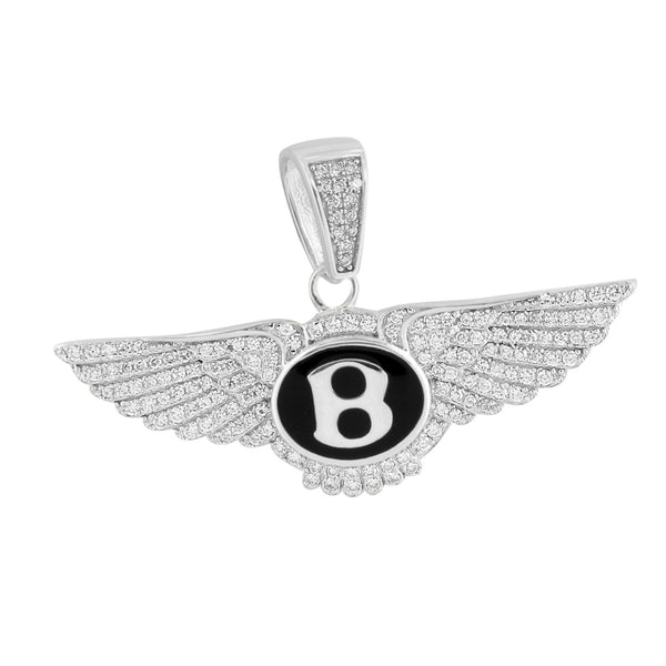 White Finish Luxury Car Logo Pendant Lab Diamonds Iced Out
