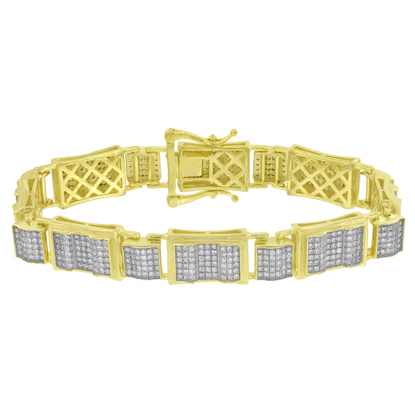 Mens Bracelet Yellow Gold Over Sterling Silver Simulated Diamond Designer Custom