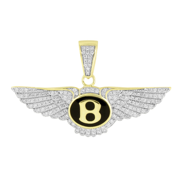 Sterling Silver Luxury Car Logo Pendant Gold Tone Lab Diamonds Iced Out