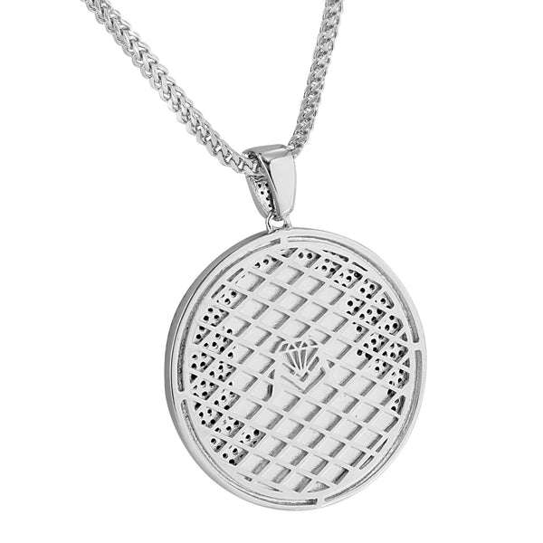 Jesus Christ Round Charm Pendant Necklace Set 14k White Gold Finish New