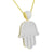 Hamsa Hand Gold On Sterling Silver Pendant Moon Cut Necklace