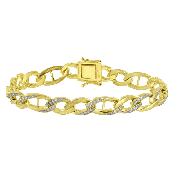 Designer Bracelet Yellow Gold Over Sterling Silver Simulated Diamonds Mens