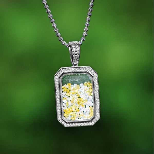 Sterling Silver Dancing Diamond Pendant Yellow and White