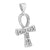 Mens Ankh Cross Pendant White Gold Over Sterling Silver