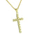 Solitaire 1 Row Cross 14K Yellow Gold Finish Lab Diamonds Stainless Steel Chain Custom