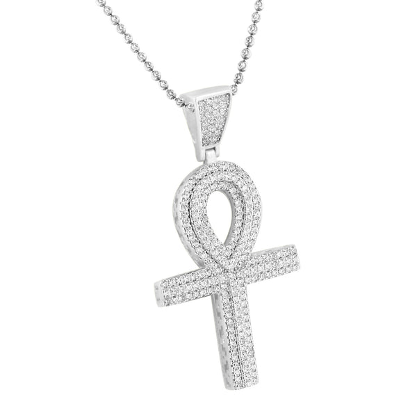 Sterling Silver Ankh Cross Pendant Lab Created Diamond Moon Cut Chain