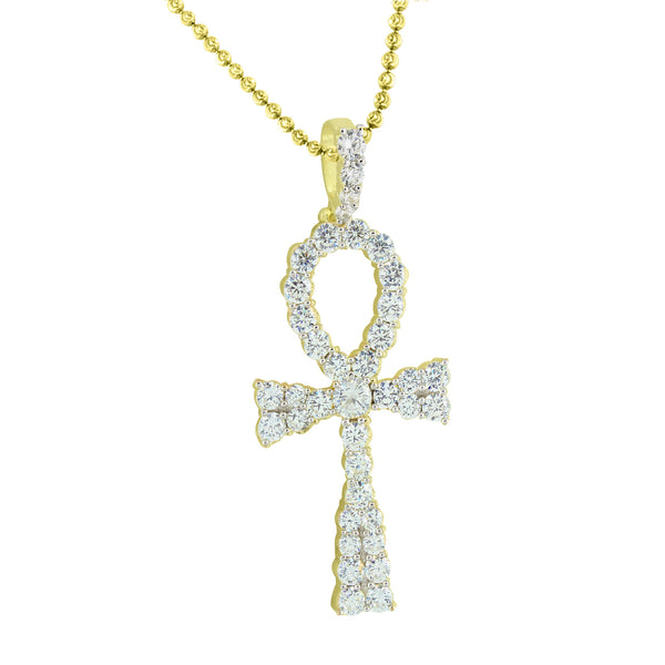 Sterling Silver Ankh Cross Pendant Gold Tone Moon Cut Chain