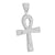 Silver Ankh Cross Piece Pendant White Finish