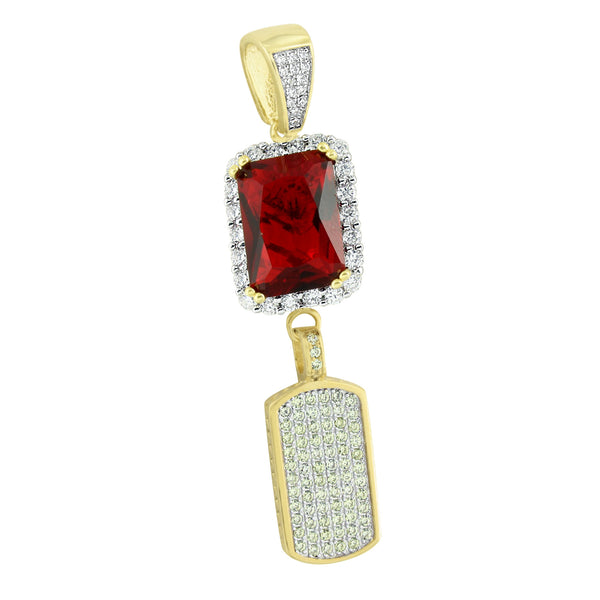 Ruby Dog Tag Pendant 14K Gold Over Sterling Silver