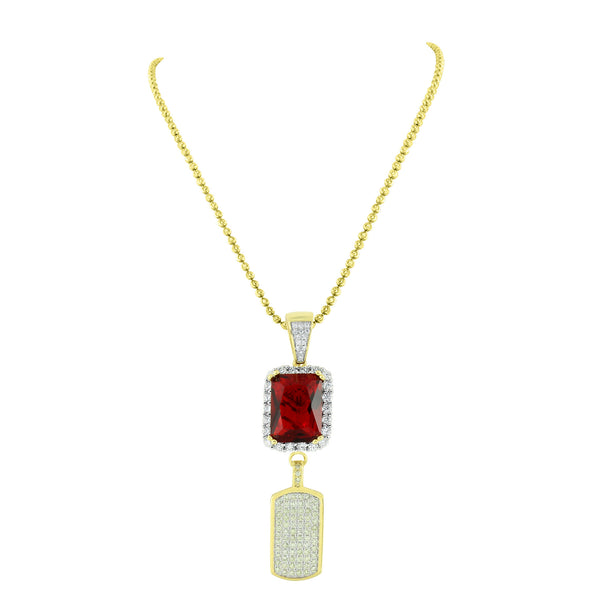 Dog Tag Pendant Garnet Ruby Gold Over 925 Silver Moon Chain