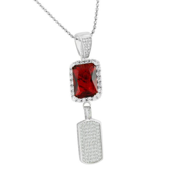 Garnet Ruby Dog Tag Pendant White Gold On 925 Silver