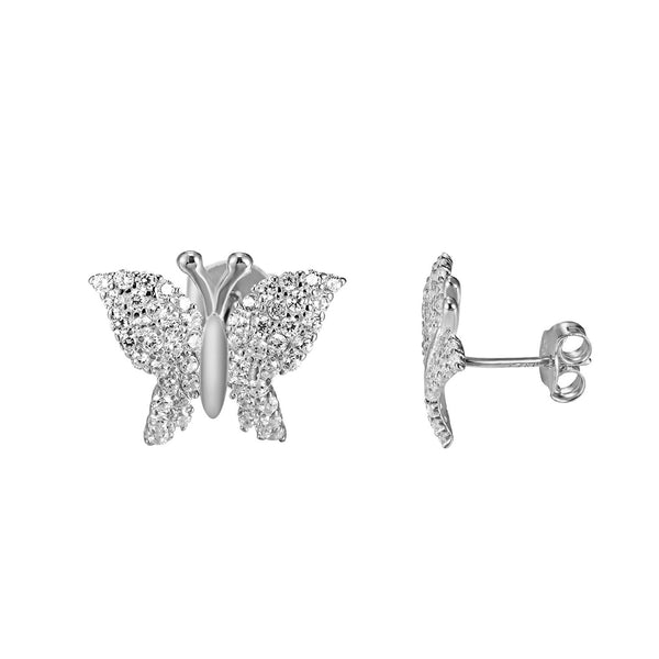 925 Silver Butterfly Design Earrings Screw On Women Simulated Diamond Unique