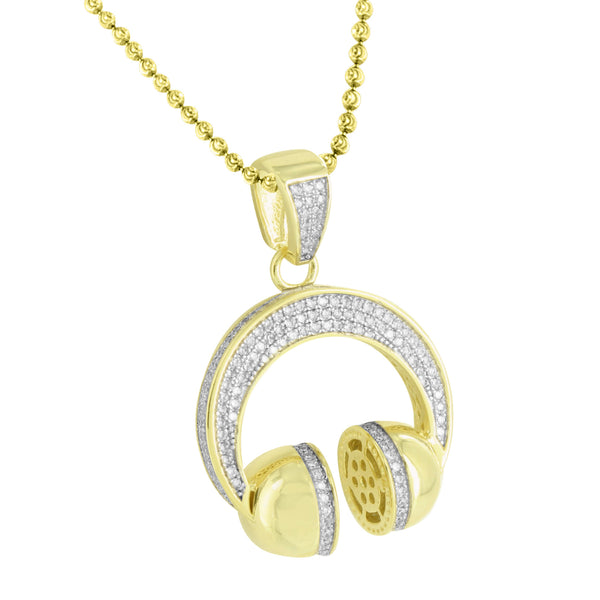 Headphones Design Pendant 14k Gold Over Sterling Silver Exclusive