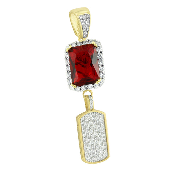 Unique Gold Dog Tag Ruby Pendant 14K Over Sterling Silver Lab Created Diamonds