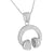 Sterling Silver Headphones Pendant White Gold Finish Chain