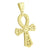Micro Pave Gold Ankh Cross Pendant 14K On Sterling Silver Lab Created Diamond