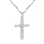 Sterling Silver Solitaire Cluster 14k White Gold Finish Iced Out Cross Pendant Free 24