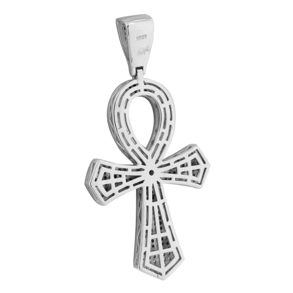 Mens White Gold Ankh Cross Pendant 14K On Sterling Silver Lab Created Diamonds