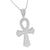 Sterling Silver Ankh Cross Pendant White Gold Tone Chain