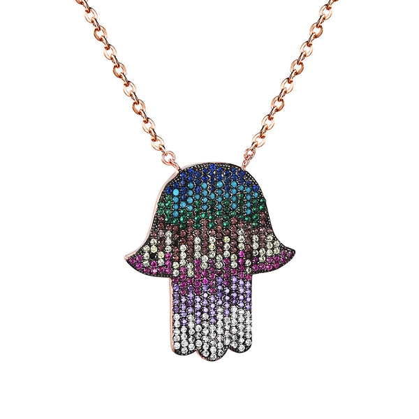 Sterling Silver Hamsa Hand Pendant Multi Color Simulated Diamond Rose Gold Tone