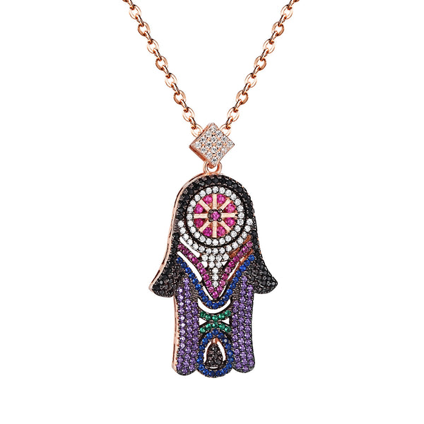 Hamsa Hand Fatima Evil Eye Sterling Silver Pendant Multi Color Iced Out Necklace