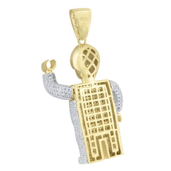 New Robot Lego Man Pendant 14K Gold Over Sterling Silver Lab Created