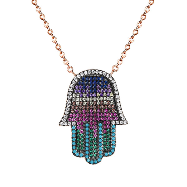 925 Silver Hamsa Hand Fatima Pendant Multi Color Iced Out Rose Gold Tone Chain