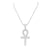 Sterling Silver Ankh Cross Pendant White Gold Tone Necklace