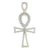 Sterling Silver Custom Ankh Cross Pendant Lab Created Diamond
