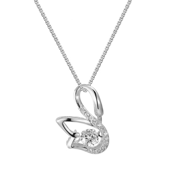 Sterling Silver Elegant Dancing Swan Solitaire Simulated Diamond Charm Pendant Free Chain