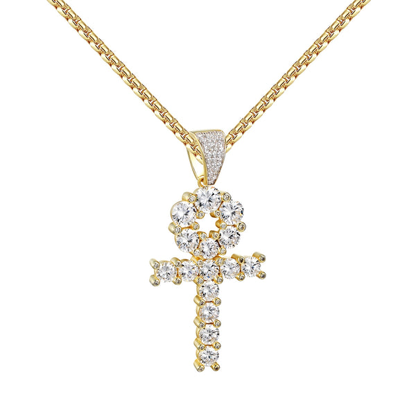 Solitaire Ankh Cross Pendant 14k Gold Over 925 Silver Round Cut Box Necklace 24