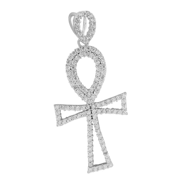 Sterling Silver Ankh Cross Pendant Lab Created Diamond White Gold Finish
