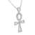 White Gold Ankh Cross Pendant 14K On 925 Silver