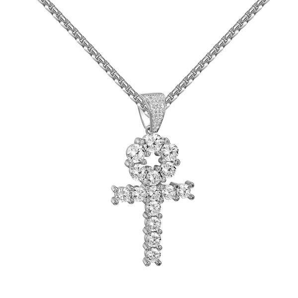 Sterling Silver Solitaire Ankh Cross Pendant Custom 2.0