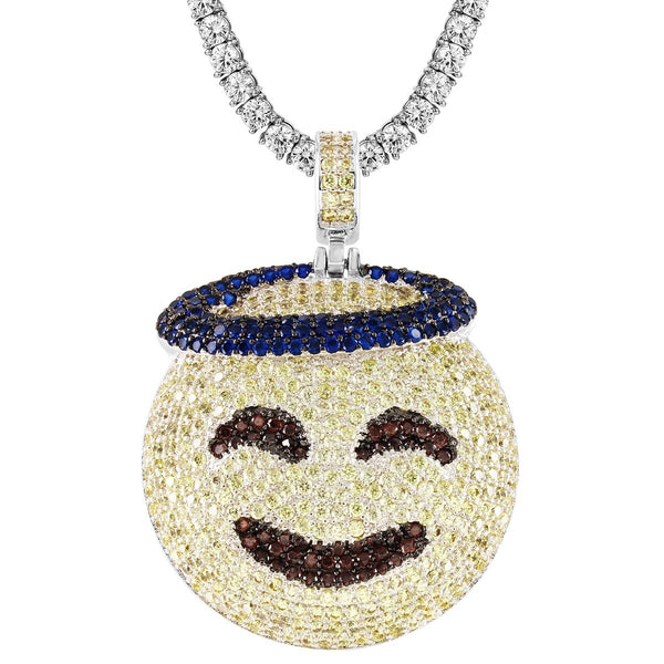 Custom Blessed Sign Emoji Circle Pendant Chain
