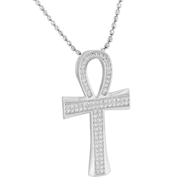 Sterling Silver Ankh Cross Pendant White Gold Finish Necklace