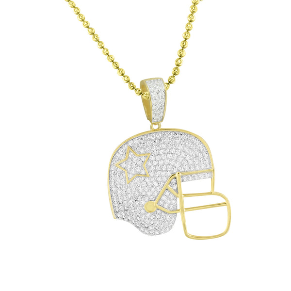 Football Sports Helmet Pendant 14K Gold Over 925 Silver