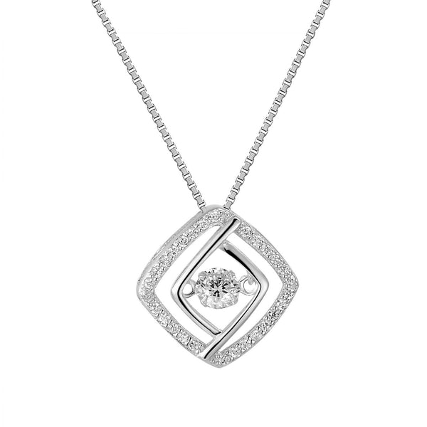 Silver Dazzling Solitaire Cushion Cut Bling Charm Pendant Free Necklace
