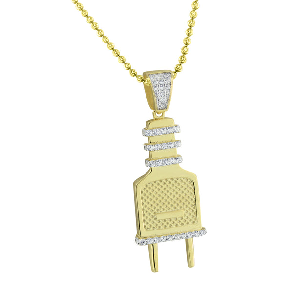 Switch Plug Design Pendant Sterling Silver Gold Finish Chain