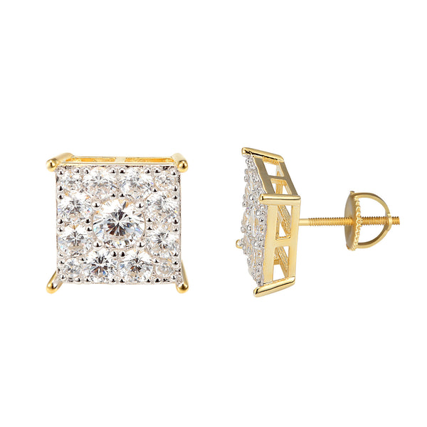 Solitaire Square Shape Sterling Silver 14k Gold Finish Earrings