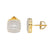 Sterling Silver Square Solitaire 14k Gold Finish  Earrings