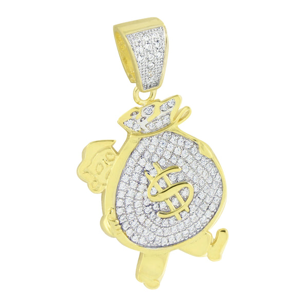New Man Holding Money Bag Pendant 14K Yellow Gold Over 925 Silver Lab Create Diamond